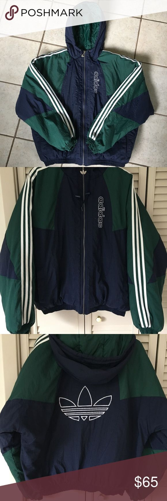 Vintage Adidas Puffer Jacket ADIDAS HEATA. Gorgeous vintage adidas men's puffer jacket. Forest green and navy blue. White embroidered adidas logo on front chest and center of back. Three white stripes on both sleeves. No stains or holes. Great condition! Men's large. adidas Jackets & Coats Puffers
