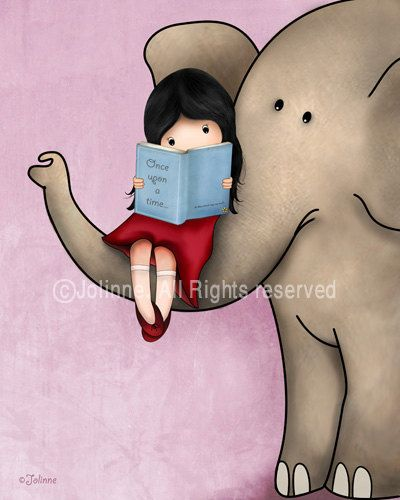 Girl reading a book on an elephant Nursery wall art by jolinne