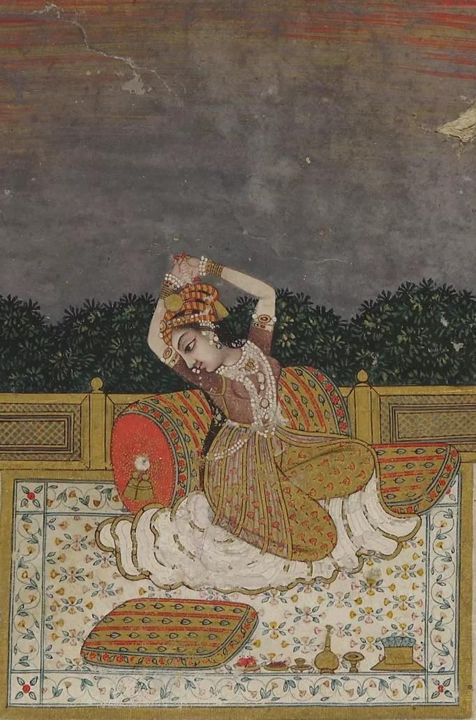 Twilight, a Lady on zenana. Her hands clasped above her head at twighlight is Varati Ragini: she is restless and pining for her absent beloved. 18th C. Deccan India