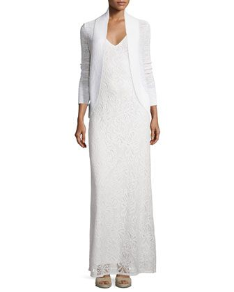 Amalie+Long-Sleeve+Open+Cardigan+&+Aster+Knit+Lace+Racerback+Maxi+Dress+by+Lilly+Pulitzer+at+Neiman+Marcus.