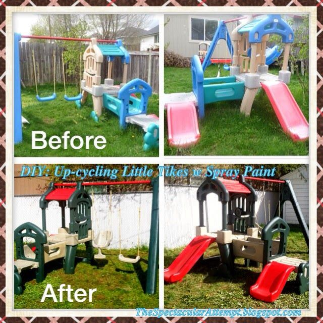 My upcycle makeover of a Little Tikes Swing Set, Climber, and slide. The Spectacular Attempt