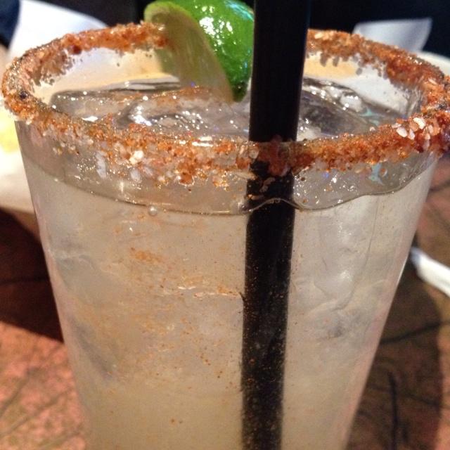Effen Cucumber Vodka...club soda...a splash of lime and a cili powder rim...refreshing perfection!