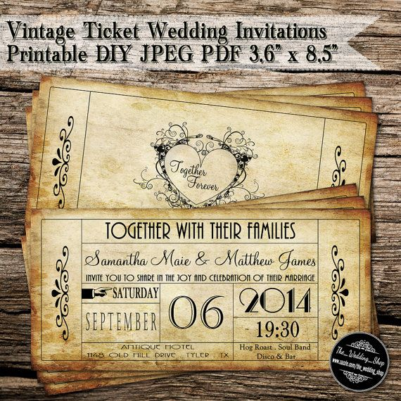 "Vintage Ticket Wedding Invitations Printable DIY JPEG PDF 3.6"" x 8.5"""