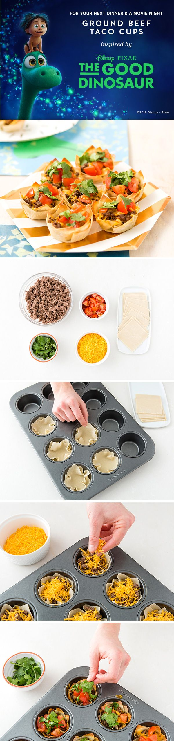 Have a dinner and movie night with your kids! Make scrumptious Ground Beef Taco Cups and watch Disney/Pixar's The Good Dinosaur. 1) Set your oven to 375 F. Add 2 wonton wrappers to each muffin tin. 2) Fill each tin with 2 TBSP of ground meat, then top with cheddar cheese. Bake in the oven for 12 minutes. 3) Once the tacos have slightly cooled, add the toppings of your choice. Enjoy!
