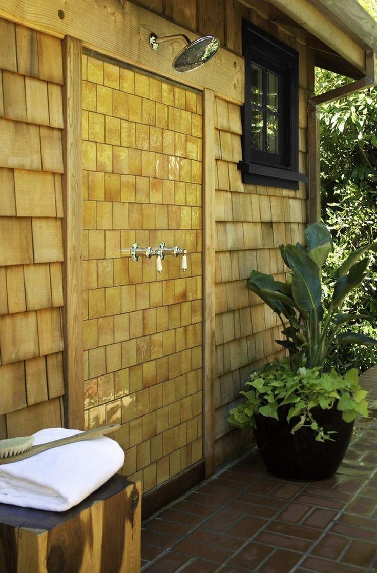 outdoor shower on the wall