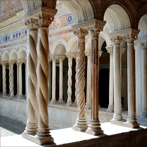 Cloister of the Basillica of San Giovanni in Laterano. built around 1220AD, Both Romanesque and Gothic. via Flickr