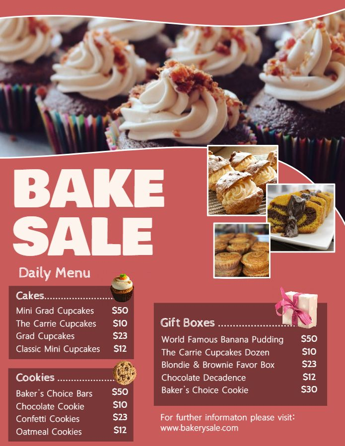 Bakery And Deli Menu Price List Template Terra Cotta Bake Sale