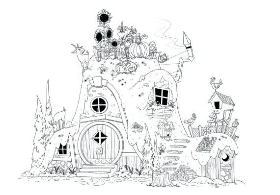 Fairy House Coloring Pages Items Similar To Fairy Tale Coloring