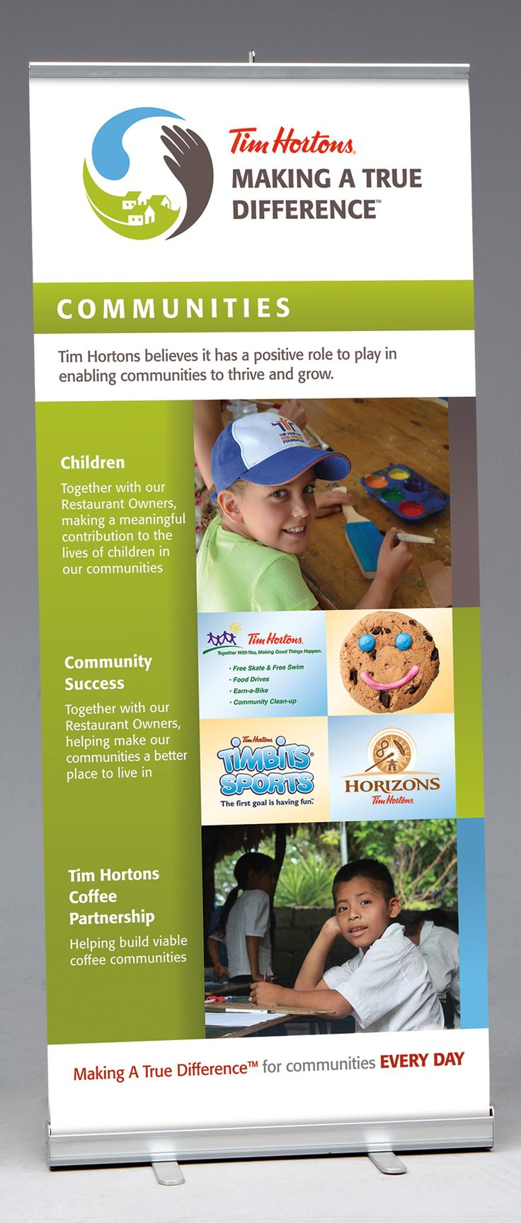 Retractable Banner Stand for Tim Hortons Community Involvement Promotion [Bcreative - Marketing Support Services]                                                                                                                                                                                 More
