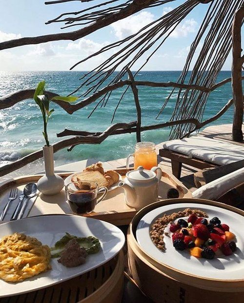 Mornings are better with views like this #LovedByGuests #Azulik #Breakfast #Sea #Brunch #View #AzulikSkyVilla #Coffee #Eat #ReconnectionSanctuary #FoodPorn #Tulum #Mexico #Holiday #Paradise #Relax #Vacation #RePost @gabiluthai