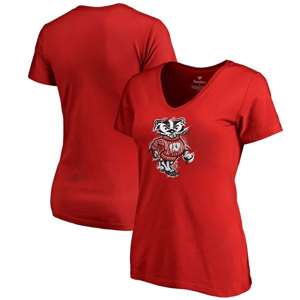 Fanatics Branded Wisconsin Badgers Women's Red Splatter Logo V-Neck T-Shirt
