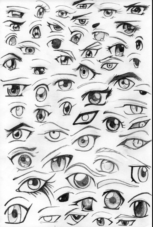 how to draw different anime eyes