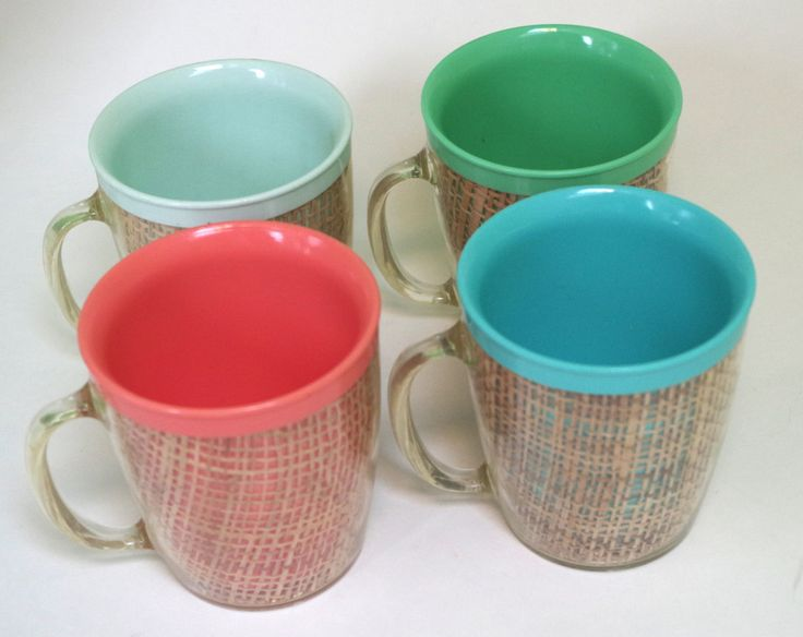 Great Set of 4 Colorful Vintage Rafia Woven Straw and Plastic Mugs by retrowarehouse on Etsy