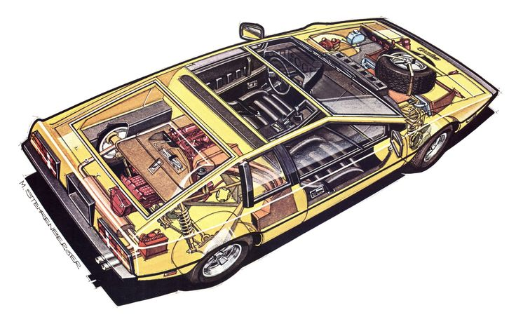 Lotus Esprit technical cars cutaway