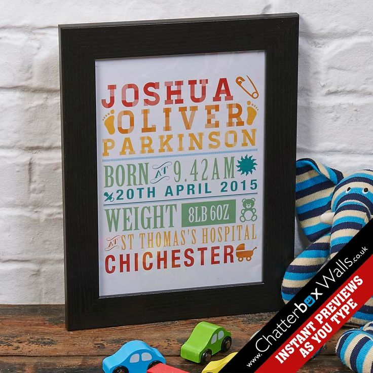 Personalised New born baby boy word art print