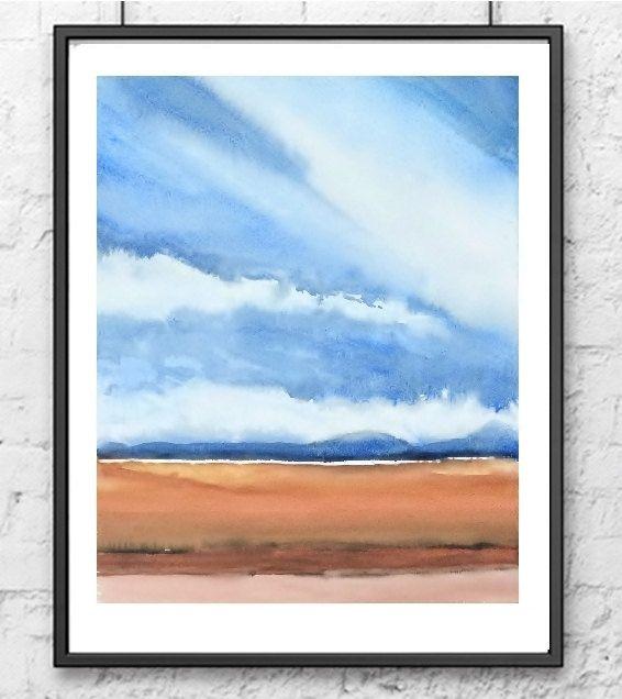 Landscape Abstract Watercolor Painting, Farm Print Art, Landscape Wall Art, Farmland Painting, Brown Earthtone Color, Sky Painting,Cloud Art