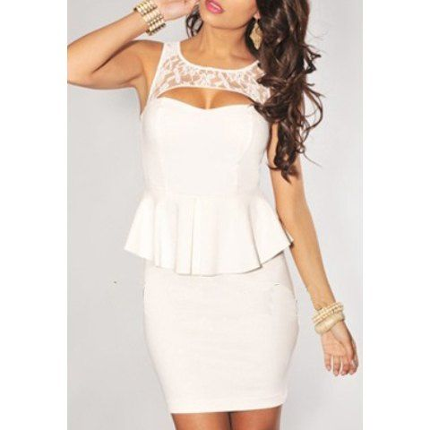 Slim Fit Lace Splicing Scoop Neck Sleeveless Women's White Club Dress, WHITE, ONE SIZE in Club Dresses | DressLily.com