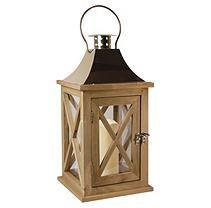 Wooden Lantern with Flameless Candle - Natural Wood with Copper Roof