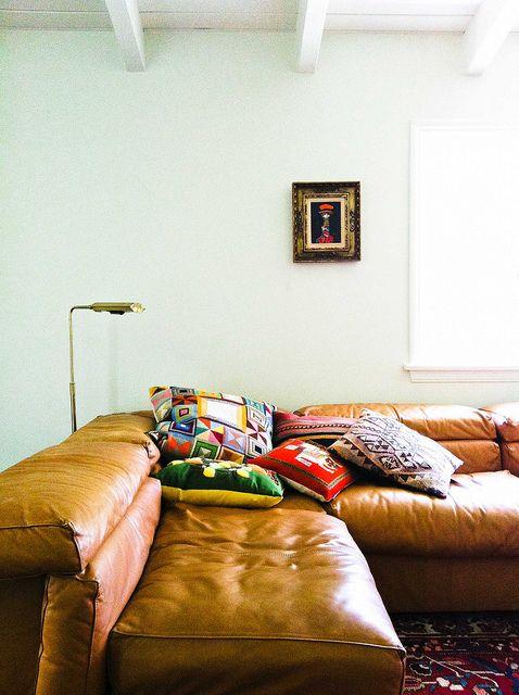 incredible vintage leather sofa. home in Santa Monica, CA // shot by @David Nilsson Nilsson Nilsson Gil