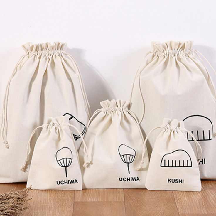 Cotton Linen Drawstring Small Bag Storage Travel Packaging Pouch-Tree Light