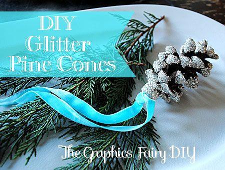 DIY - Make Glitter Pine Cones - The Graphics Fairy