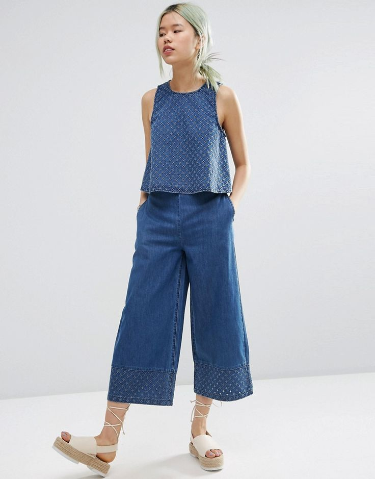 Immagine 4 di ASOS - Pantaloni di jeans coordinati con cut-out e fondo ampio
