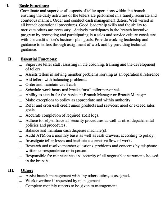 Head Teller Job Description - Http://Resumesdesign.Com/Head-Teller