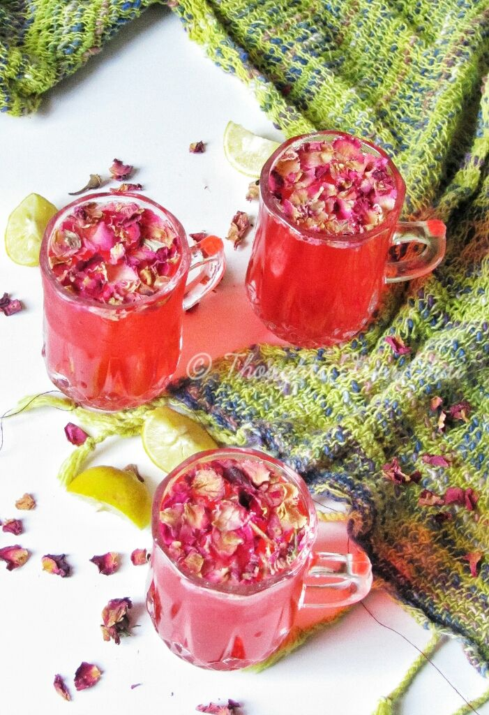 Rose lemonade! A perfect thirst quencher for summers.