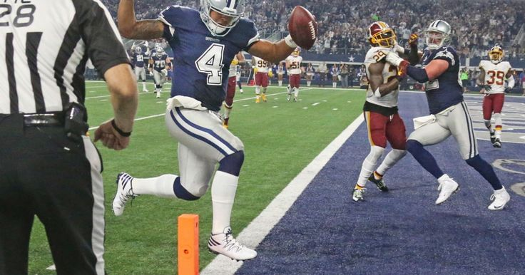 Dallas Cowboys quarterback Dak Prescott (4) scores on a fourth-quarter touchdown run in Dallas' 31-26 win during the Washington Redskins vs. the Dallas Cowboys NFL football game at AT&T Stadium in Arlington, Texas on Thursday, November 24, 2016. (Louis DeLuca/The Dallas Morning News) #Dallas #Cowboys #DallasCowboys #CowboyNation #GoCowboys