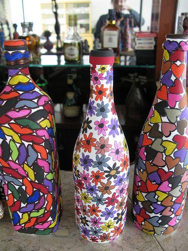 Resultado de imagen para garrafas pintadas