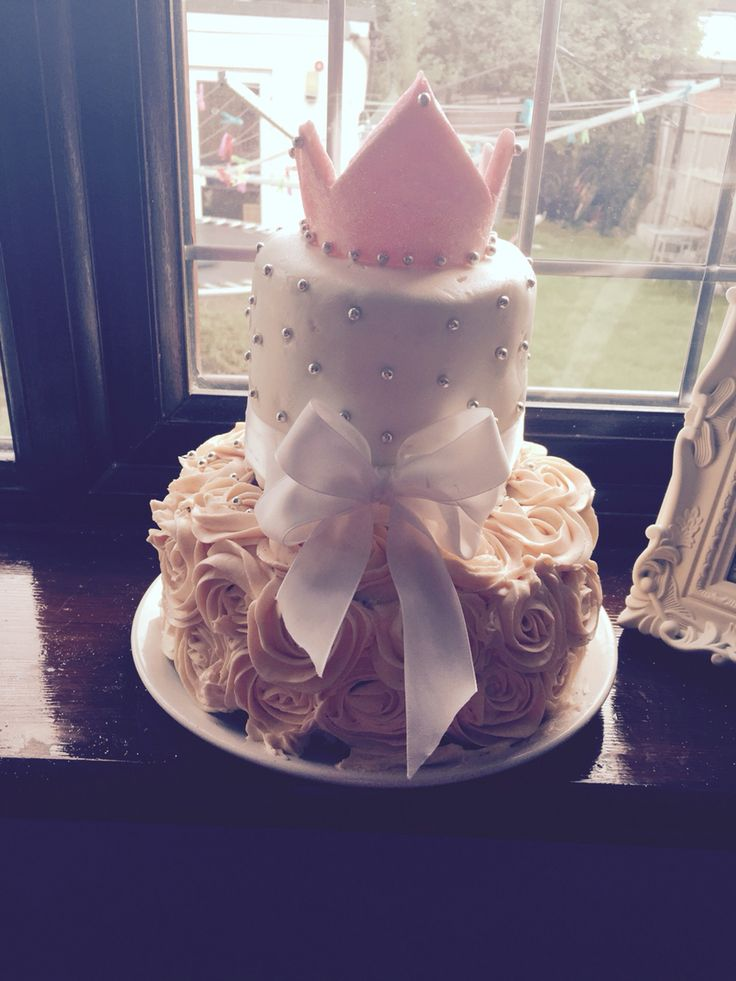 Girls Birthday Cake Two Tier Buttercream Roses Stella