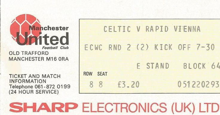 CELTIC v RAPID VIENNA 1984/85  ECWC played at Man Utd MATCH TICKET