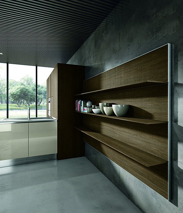 Mueble de estantes iluminados con marco en aluminio