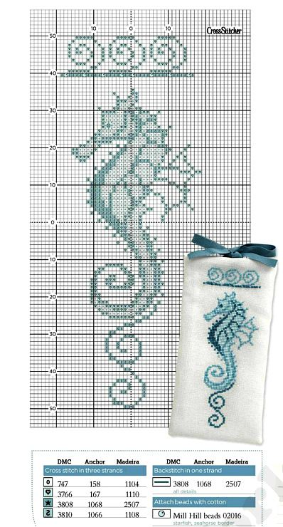cross stitch sea horse nautical