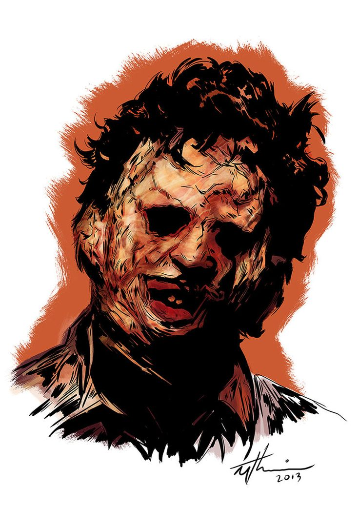 Portrait of the infamous cannibal king: Leatherface from Tobe Hooper's Texas…