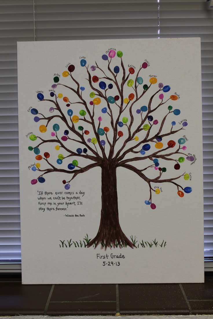 First Grade Class Project to be Auctioned Off - fingerprints as leaves - different color for each student and teacher - very cute.
