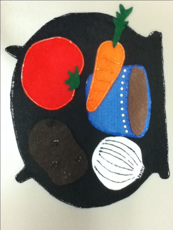 Stone Soup flannel board idea for story retelling