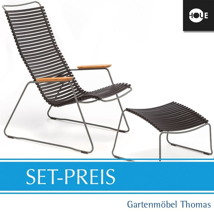 Houe Loungesessel / Hocker CLICK SET   Graphit/Schwarz   Hou St18023 |  Gartenmöbel. Outdoor LoungeFolding Chair