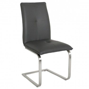 Dining Chair - Grey / Brushed Steel