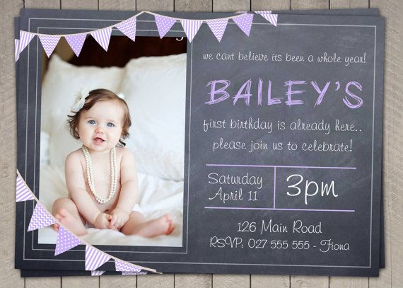 Best St Birthday Cakes And Invitations Girls Images On - 1st birthday invitations girl purple