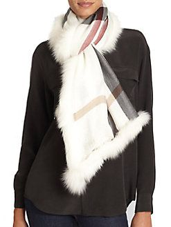 Burberry - Fox Fur-Lined Check Scarf