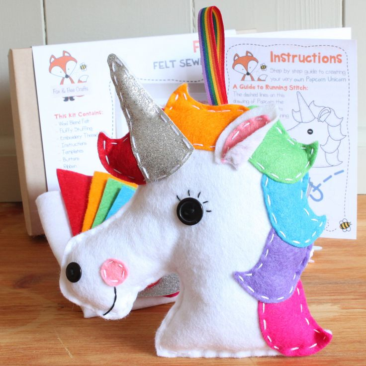 Popcorn the Unicorn Felt Sewing Kit - Perfect for kids and adults of all ages and abilities - Includes everything you need Unicorn Crafts Magical Crafts