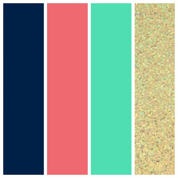 Wedding Color Palette. Navy, Coral, Seafoam, and Gold