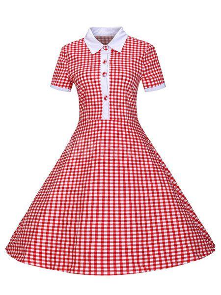 Abito Vintage rosso pulsante Guarda couverture collare manica corta vestito retrò per le donne - Milanoo.com