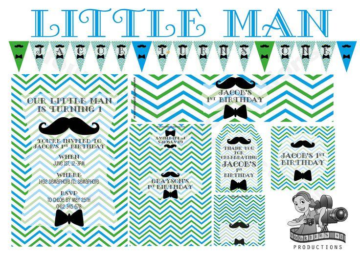 Little Man Birthday Decorations by fourteen92prod on Etsy https://www.etsy.com/au/listing/456058842/little-man-birthday-decorations
