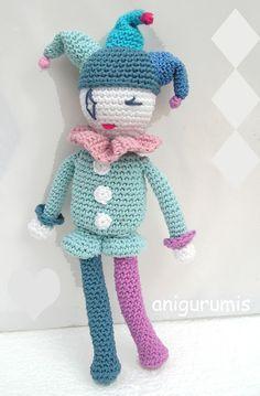 Amigurumi Muñeco Arlequín - Patrón Gratis en Español aquí: http://anigurumis.blogspot.com.es/2016/01/patron-amigurumi-arlequin.html