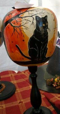 halloween gourds | Hand-painted Black Cat Apple gourds.