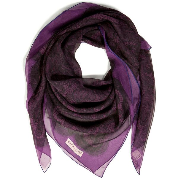 EMILIO PUCCI Lace Print Silk Scarf in Violet found on Polyvore
