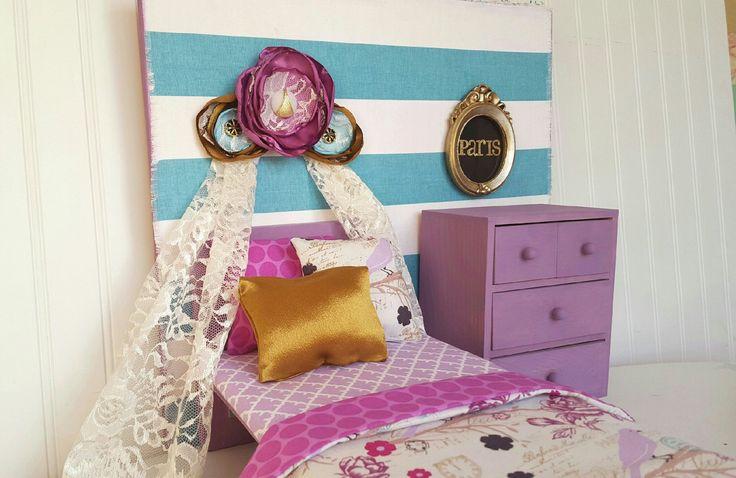 "Paris American girl doll bedroom set, 18"" American girl bedding, doll bed, purple and blue American girl bed, American girl furniture by Head2Heart on Etsy https://www.etsy.com/listing/269573262/paris-american-girl-doll-bedroom-set-18"