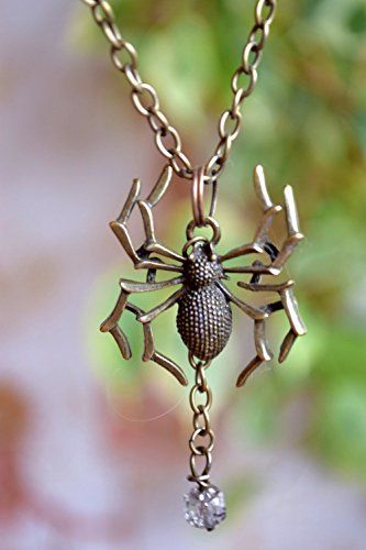 Spider Necklace Spider Jewelry thanksgiving Tarantula jewelry insect jewelry Gothic pendant Steampunk Pendant Halloween Necklace arachnophobia Gift for girlfriend Chain necklace